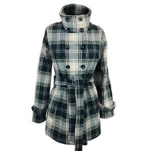 Lady Hathaway SOFT Black Tan Plaid Fleece Coat XL
